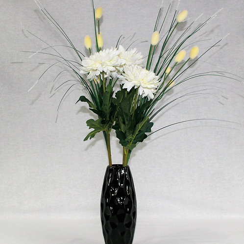 Tall Black Vase with White Flowers