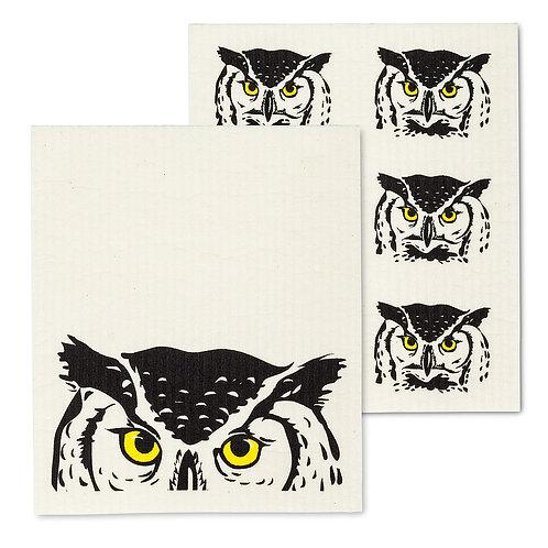 Peeking Owl Swedish Dishcloths - Set of 2