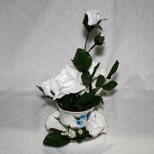 Teacup with White Flowers