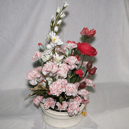 Pink Carnations in White Vase