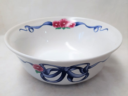 White Glass Bowl with Blue Ribbon
