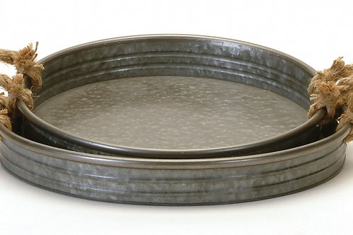 """Round Metal Tray with Rope Handles - 14"""""""