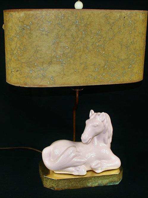 AntiqueHorse Lamp with Original Shade