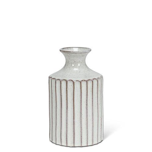 Small Ribbed Tall Neck Vase