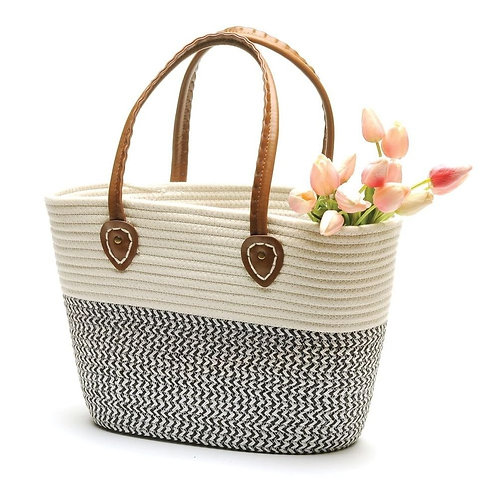 White & Black Market Bag