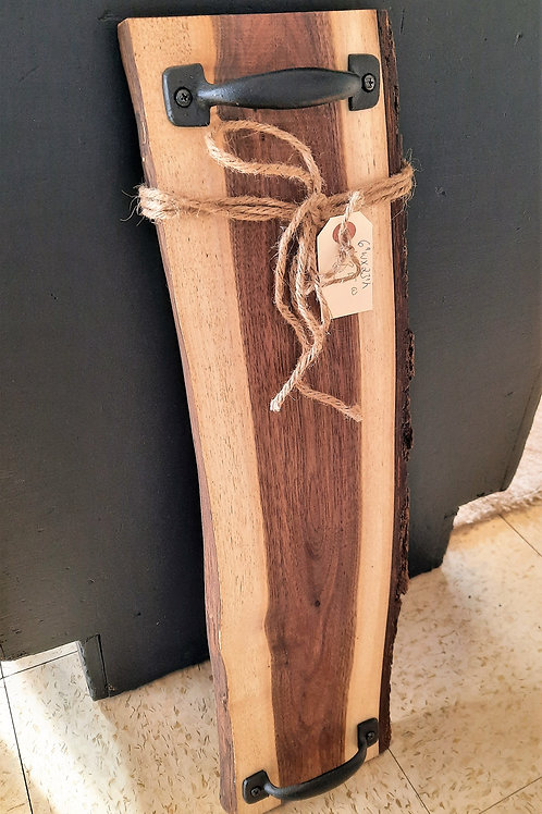 Walnut Charcuterie Board with Black Handles