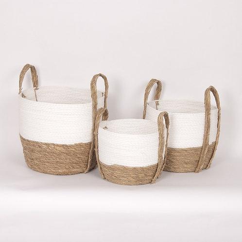 White/Natural Straw Baskets - Set of 3