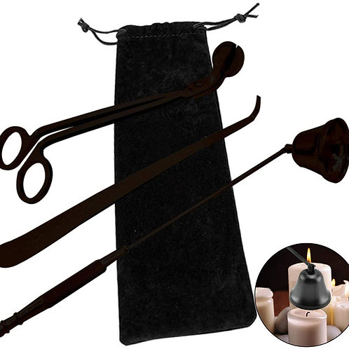 Candle Snuffer/Wick Trimmer/Wick Dipper Set Black