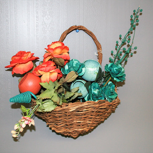 Wall Hanging Basket with Flowers