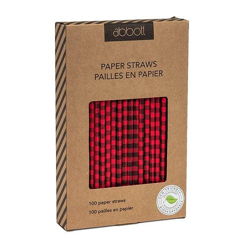 100 Pc. Buffalo Check Paper Straws