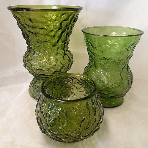 Set of 3 Green Textured Vases