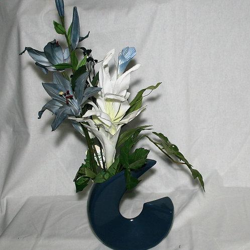Blue Curved Vase
