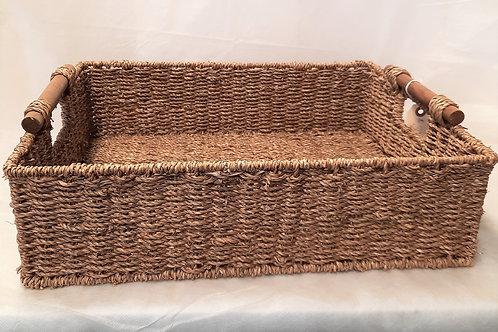Tan Basket with Wood Handles
