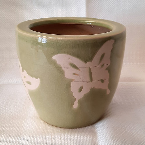 Green Vase with Butterfly Motif