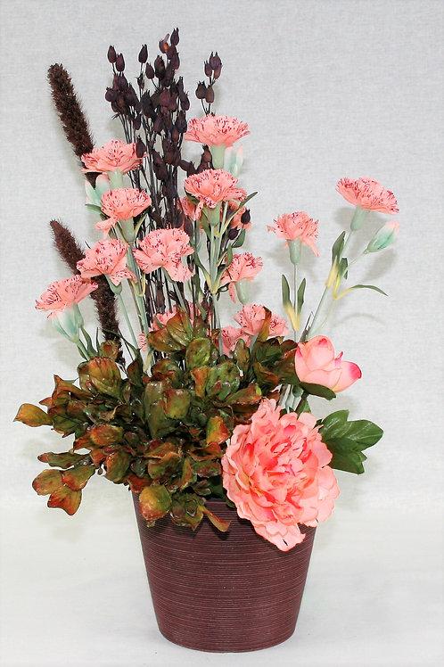 Burgandy Vase with Pink Flowers