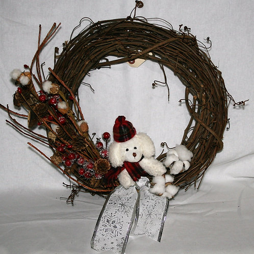 Wreath - With Puppy, Berries & Cotton
