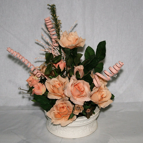 Cream Vase with Peach Flowers