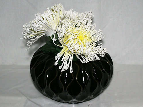 Blakc Sculpted Vase with White Flowers