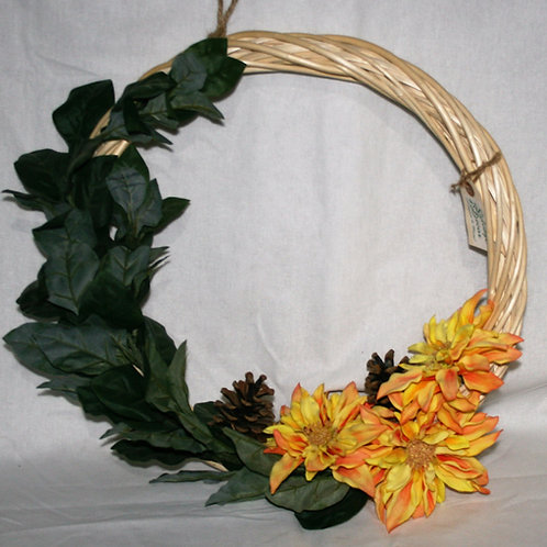 Wreath - Large with 3 Orange Flowers