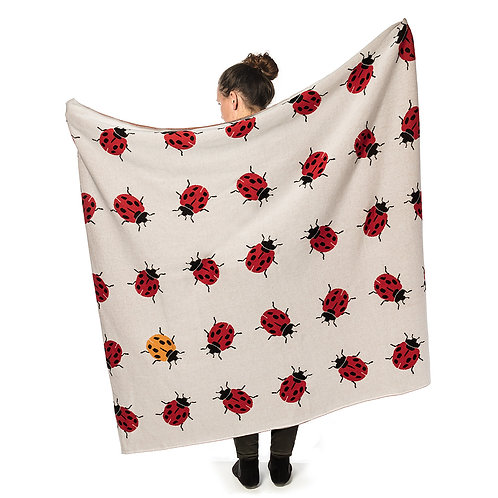 Allover Ladybug Knit Throw