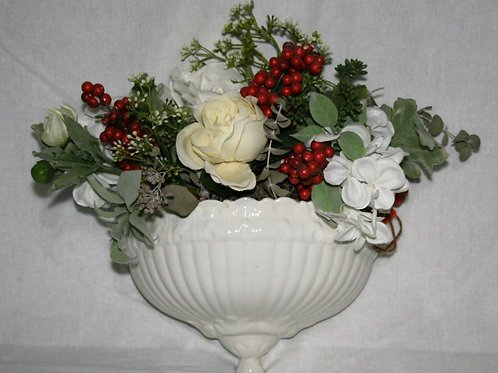 White Hanging Wall Vase with White Flowers