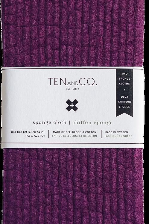 Ten & Co. Plum Solid Sponge Cloth - 2 Pack