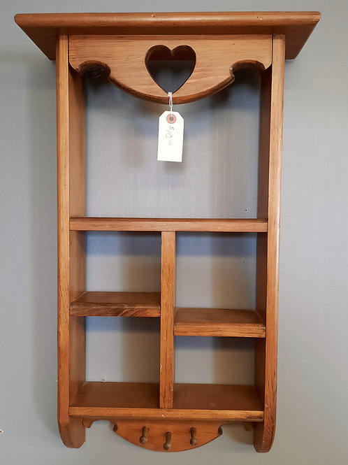 Solid Wood Shelf with Cup Hooks