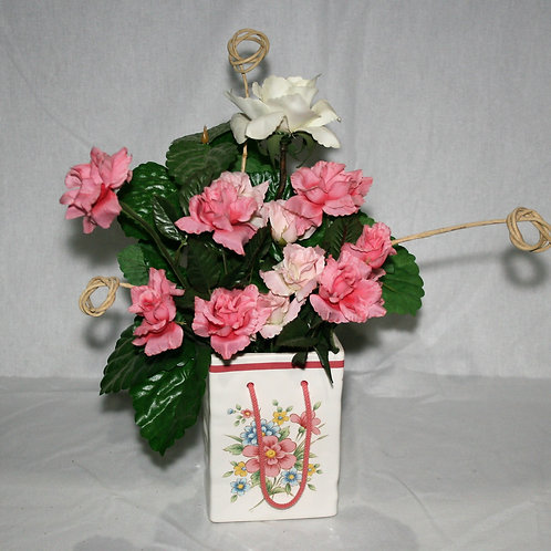 Pink Blue Ceramic Bag with Pink Flowers