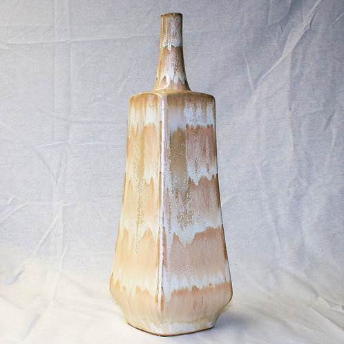 Beige/White Square Vase