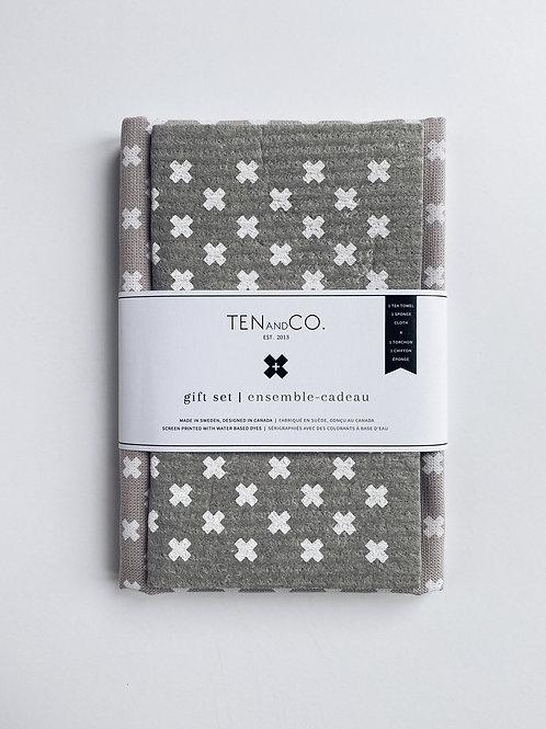 Ten & Co. Gift Set - Tiny X White on Warm Grey