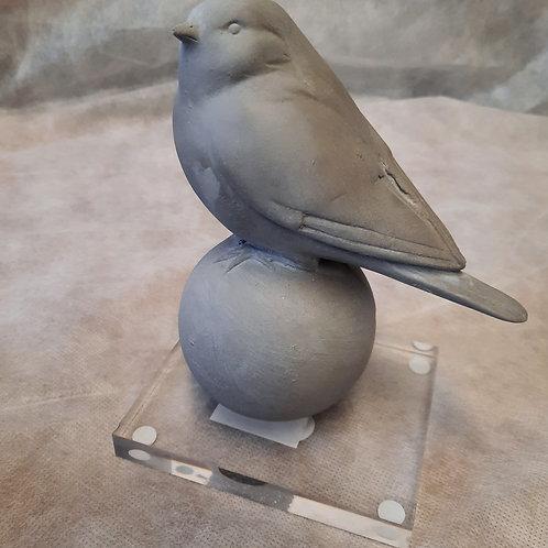 Gray Stone Bird on Stand