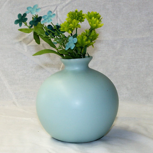 Blue Round Vase with Flowers