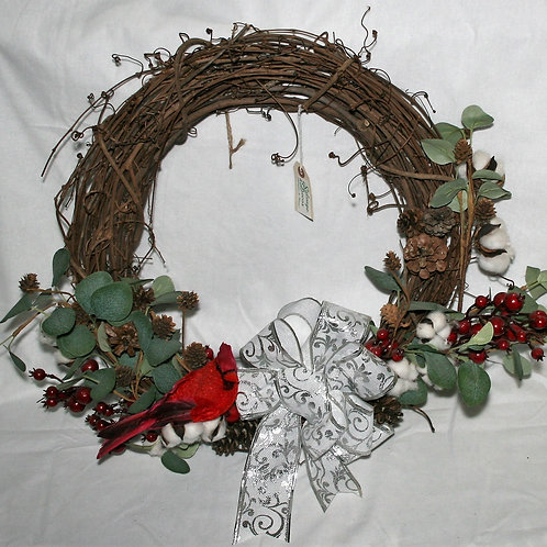 Wreath - Silver Bow with Cardinal & Berries