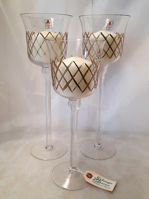 Set of 3 Tall Glass Candle Holders