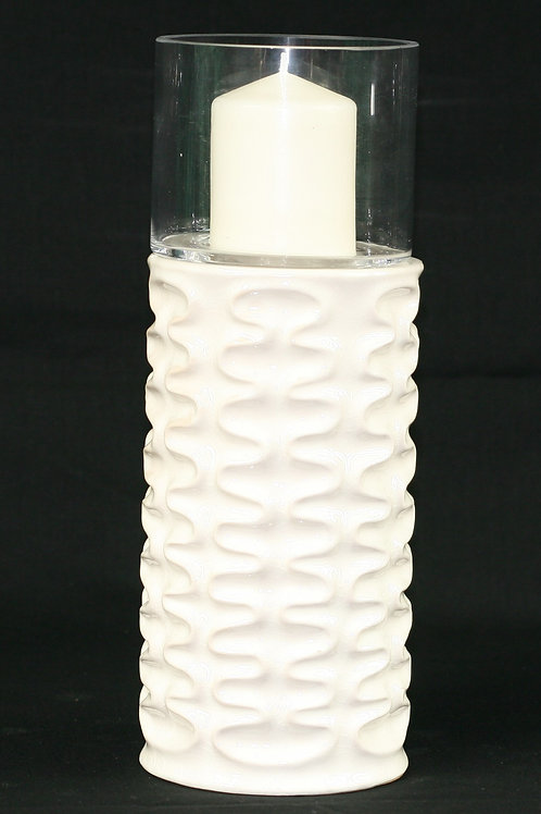 White Textured Candle Holder Tall