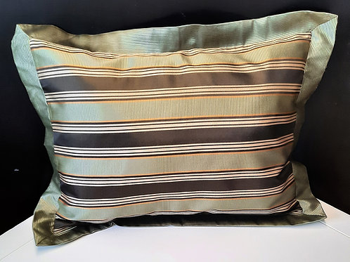 "Green Striped Pillow 23""x30"""