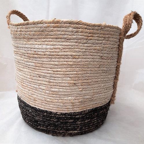 Large Black Bottom Straw Basket