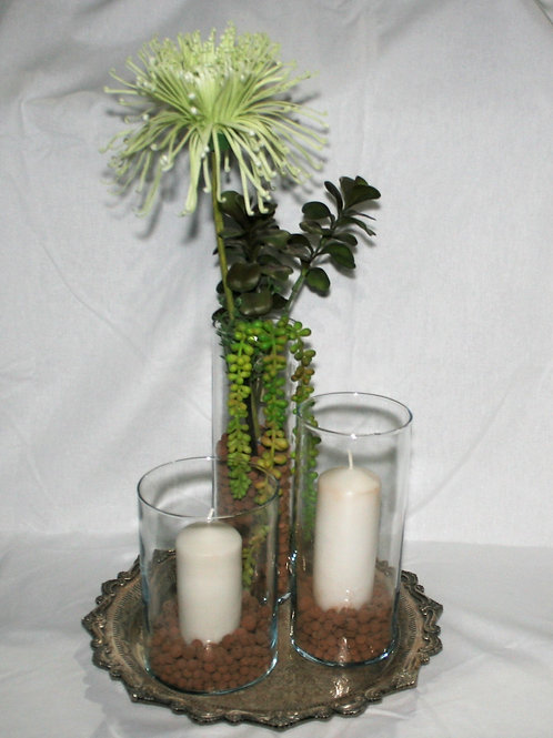 3 Piece Glass Vases with Flower & Candles