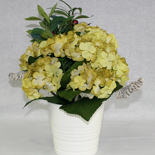 White Metal Vase with Yellow Flowers