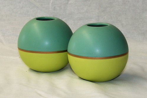 Teal & Green Round Vase
