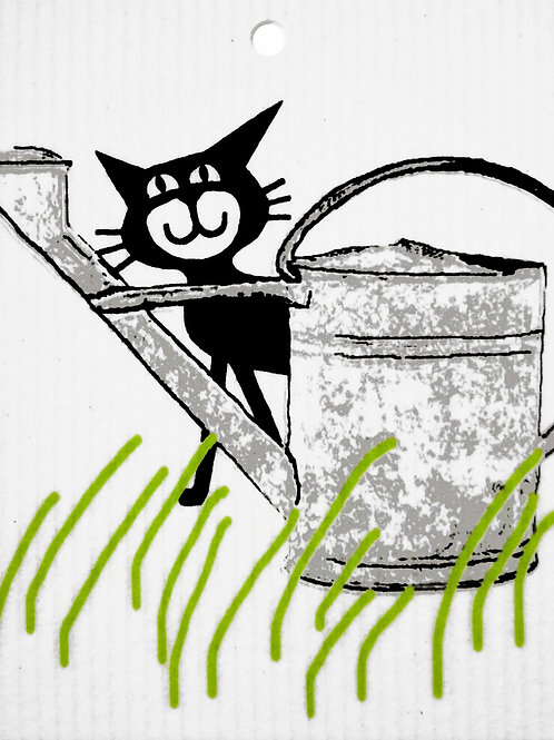 Swedethings Swedish Dish Cloth - Cat Behind Wateringcan