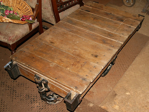 Vintage Rolling Cart Coffee Table Industrial Rustic Wood and Cast Iron