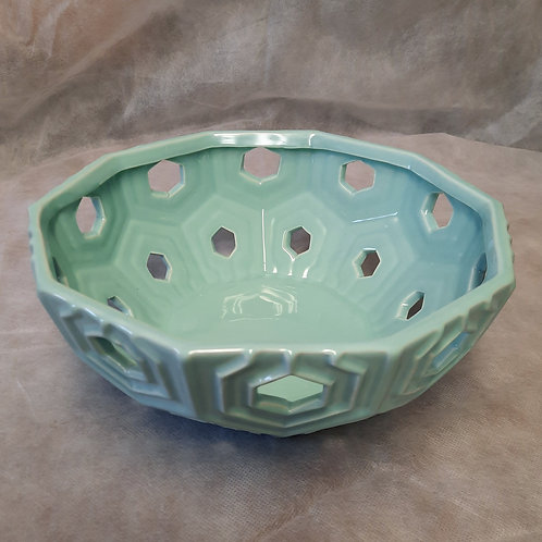 Teal China Bowl with Cut Outs