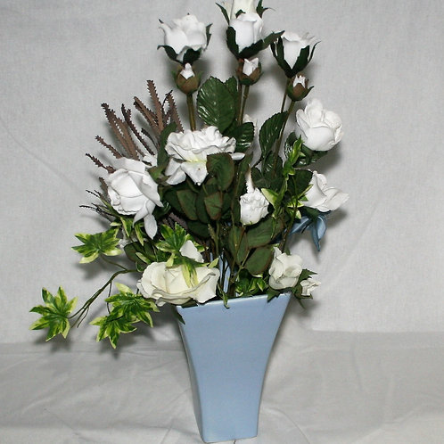 Baby Blue Vase with Blue Flowers