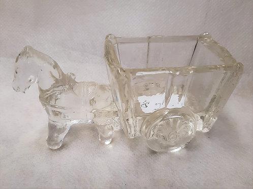 Small Glass Horse & Wagon