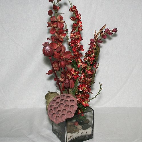 Burgundy Flowers in Clear Vase
