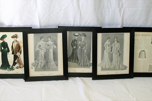 Set of 5 Old Dressmaker Images