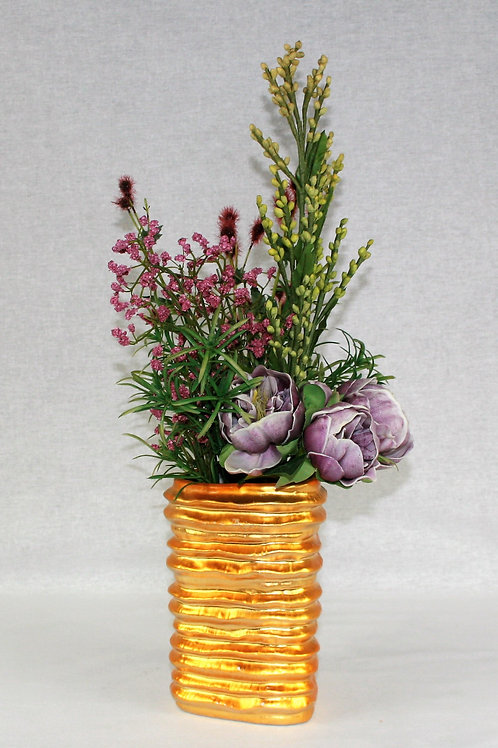 Gold Vase with Purple Flowers