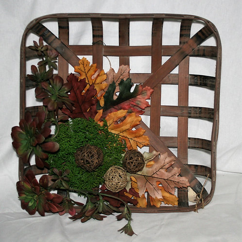 Small Tobacco Basket with Succulents