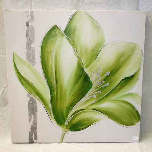 Green & White Flower Canvas